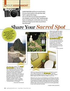 Spirituality & Health Magazine, November/December 2014, photo of sundial at Machu Picchu
