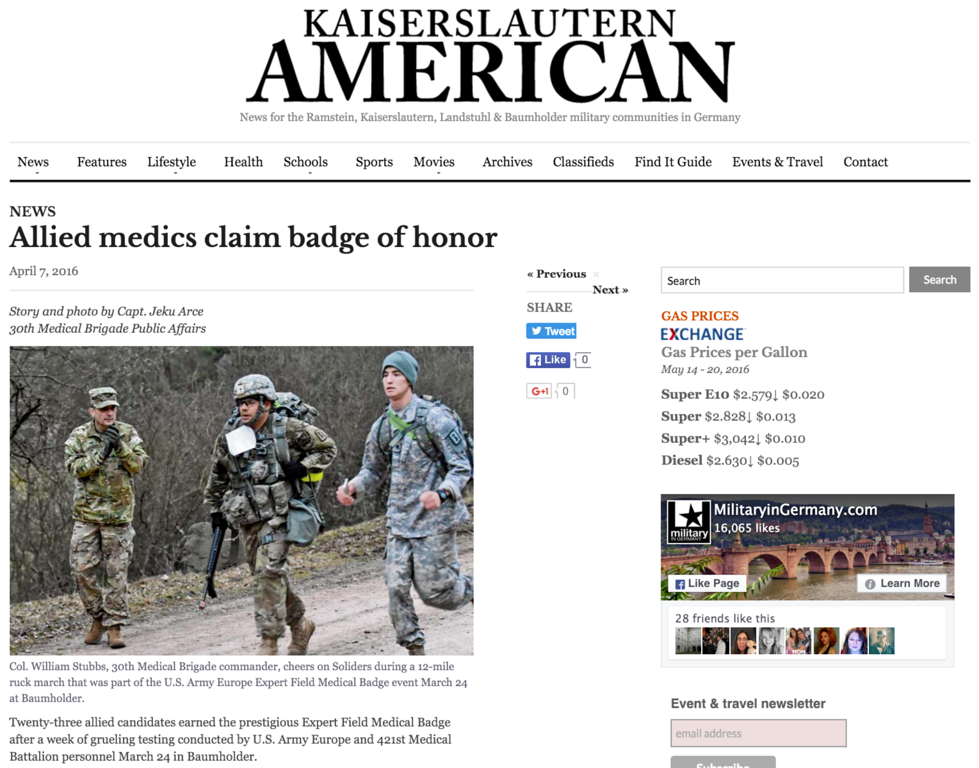"<a href=""http://www.kaiserslauternamerican.com/allied-medics-claim-badge-of-honor/"">http://www.kaiserslauternamerican.com/allied-medics-claim-badge-of-honor/</a>"