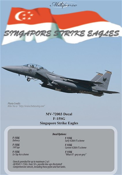 Milliverse Decals MV-72003<br /> Singapore Strike Eagles (1/72 scale model waterslide decals)<br /> Cover Photo