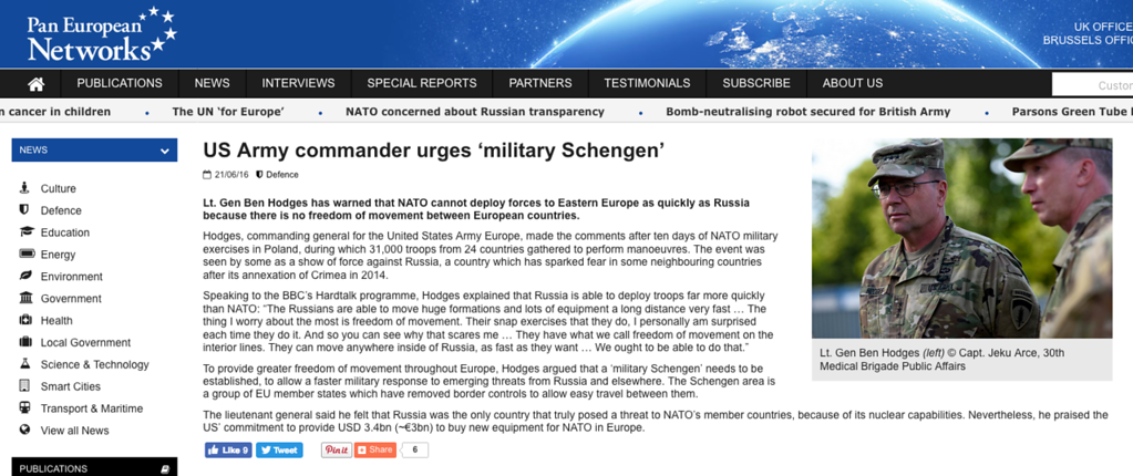 "<a href=""http://www.paneuropeannetworks.com/defence/us-army-commander-urges-military-schengen/"">http://www.paneuropeannetworks.com/defence/us-army-commander-urges-military-schengen/</a>"