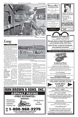 Leelanau Enterprise July 30, 2015, Section 3 Page 11, center photo of the Joy returning to Leland Harbor