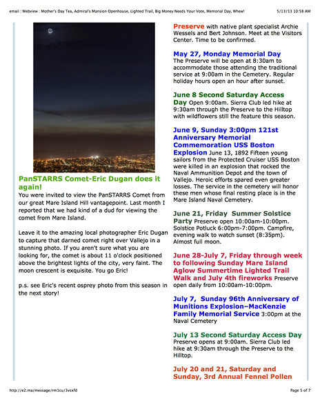 """Mare Island Preserve Newsletter 5/13/13<br /> PanSTARRS Comet-Eric Dugan does it again!<br /> """"Leave it to the amazing local photographer Eric Dugan to capture that darned comet right over Vallejo in a stunning photo."""""""