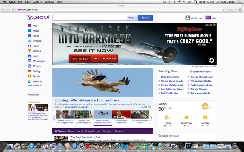 Yahoo Home Page 5/17/13<br /> Stunning battle between blackbird and hawk<br /> generated over 1,000,000 views