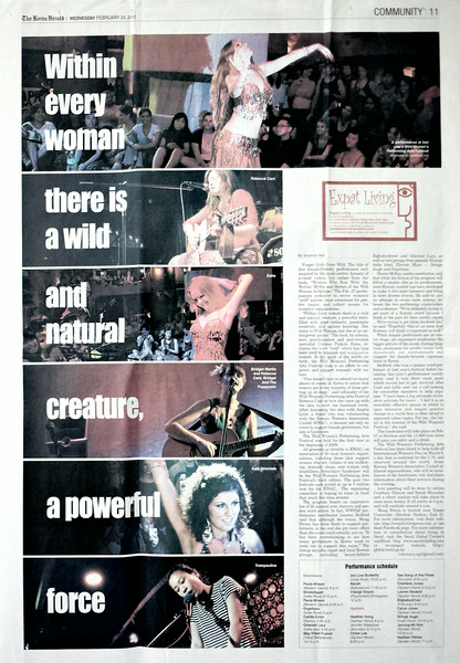 Photo spread in the Korea Herlald - Seoul's main English Language Daily Newspaper. Featuring images from the Wild Women's Performing Arts Festival. Photography only.