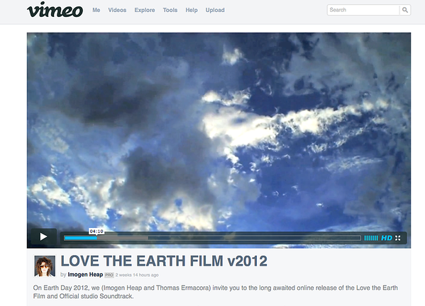 "Grammy Award Winning Imogen Heap ""Love the Earth"" Film Usage"