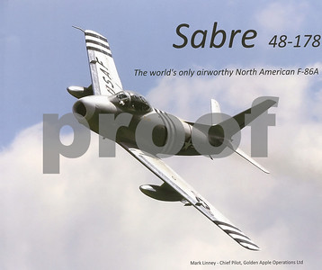 """Front page of """"Sabre 48-178, The world's only airworthy North American F-86A"""" by Mark Linney"""