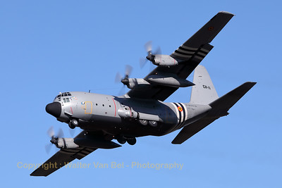 A Belgian Air Force C-130H (CH-11; cn382-4482) from 20Sqn (15Wing) is seen here on final at Eindhoven Airport during the celebrations for 75-Years Market Garden. This Hercules is painted with D-Day invasion stripes as a tribute to 525Sqn.