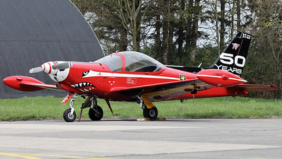 """This Belgian Air Force SF-260M+ Marchetti (ST-22+, msn10-22) - from the """"Red devils""""-demo team - wears a special c/s on its tail to celebrate """"50 years of service in the Belgian Air Force""""."""