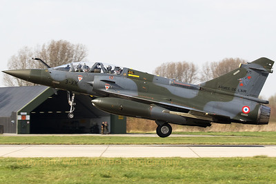 """A French Air Force Mirage 2000D (3-XK; 671; cn545), about to land on RWY24 at Leeuwarden AB, during exercise """"Frisian Flag 2017""""."""