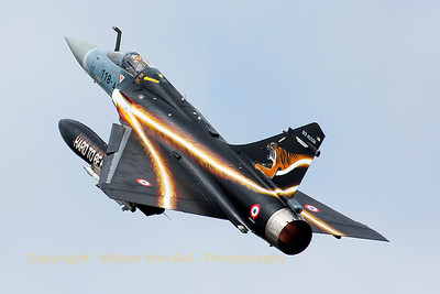 Spectacular take-off by this French Air Force Mirage 2000-5F (51; 118-AS), at the start of another mission during the Nato Tiger Meet 2014 at Schleswig-Jagel AFB.