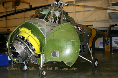 "The UH-19B is a USAF version of the Sikorsky S-55, an aircraft used by all U.S. military services in the 1950s and 1960s. It was the first of the Sikorsky helicopters with enough cabin space and lifting ability to allow satisfactory operation in troop transport or rescue roles. The UH-19B on display is painted and marked as an H-19A known as ""Hopalong"", one of two H-19s to make the first trans-Atlantic helicopter flight, traveling during the summer of 1952 from Westover AFB, Massachusetts to Scotland."