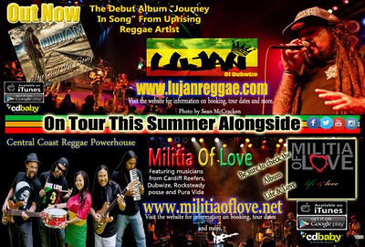 Ad and flyer for Lujan and Militia of love tour.  Photos from the 831 Love charity concert.