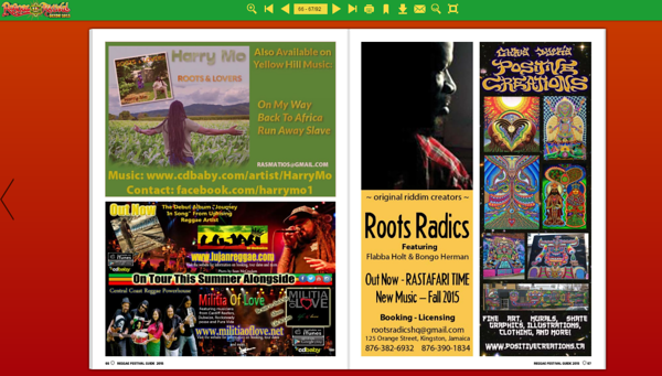 Ad on bottom left of page 66 of Reggae Festival 2015 magazine for Lujan and Militia of love tour.  Photos from the 831 Love charity concert.