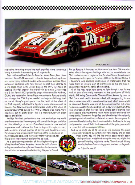 2011 Pittsburgh Vintage Grand Prix race program.  In addition to this article, my work can be found throughout this publication as well as the website and various press releases.