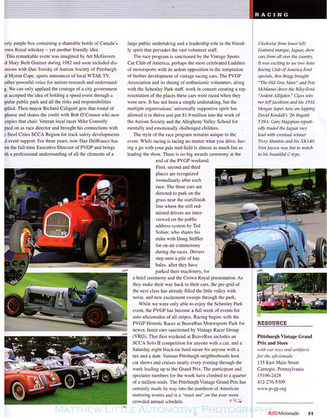 The 2006 Nov/Dec issue of Auto Aficionado magazine covering the Pittsburgh Vintage Grand Prix.