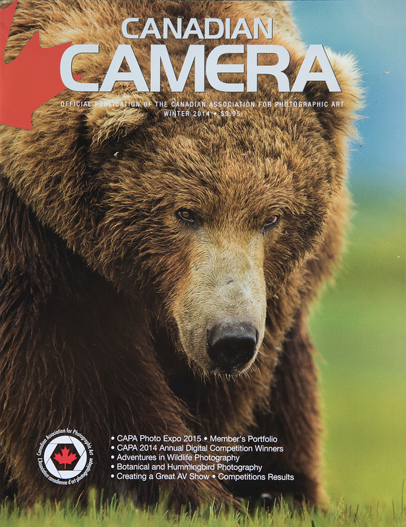 Canadian Camera Cover Image (and story on Wildlife Photography), Winter 2014.
