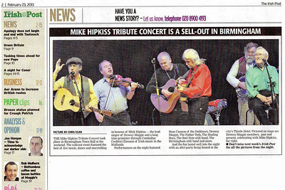 Mike Hipkiss Tribute Concert; Birmingham Town Hall. Feb 2013