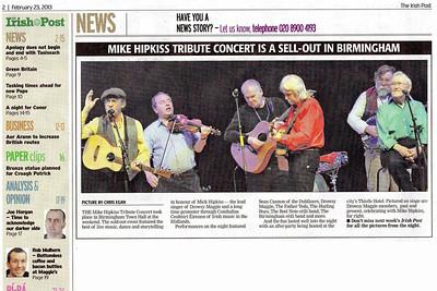 Mike Hipkiss Tribute Concert; Birmingham Town Hall. Feb 2013