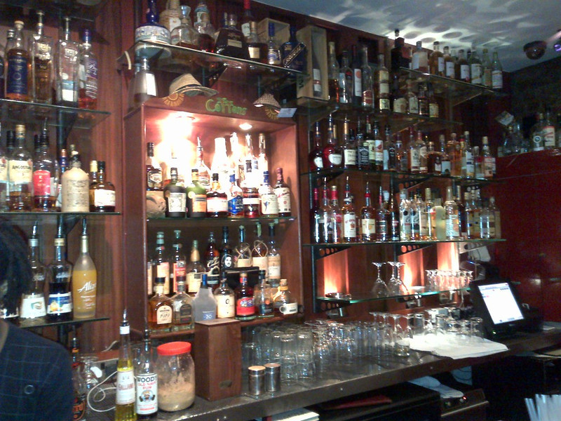 Bottom end of the bar with even more bottles of rum