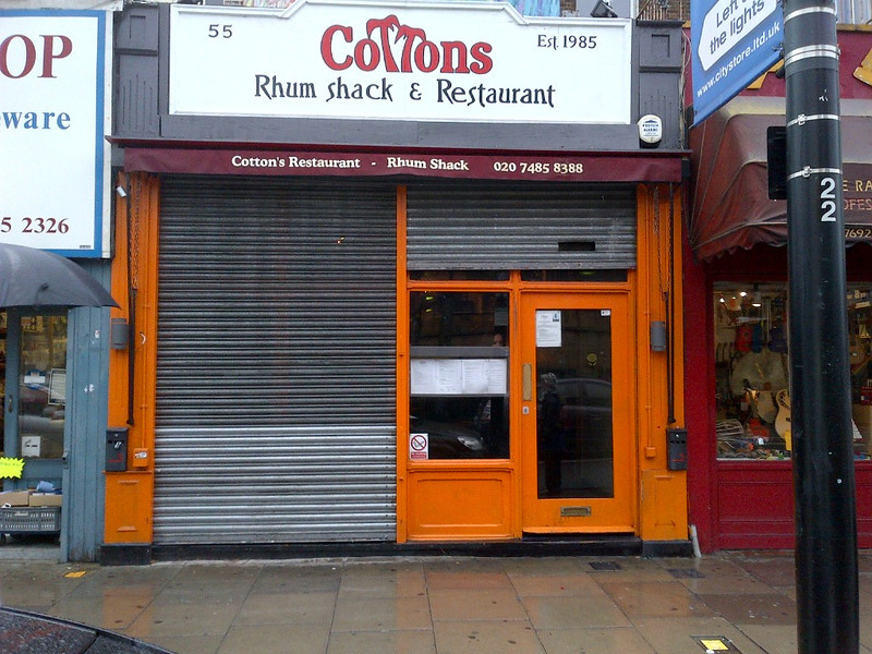 "The outside of <br /> <br /> Cottons Rum Shack <br /> <br /> 55 Chalk Farm Road<br /> <br /> Camden Town <br /> <br /> London <br /> <br /> NW1 8AN <br /> <br />  <a href=""http://www.cottonscamden.co.uk"">http://www.cottonscamden.co.uk</a>"