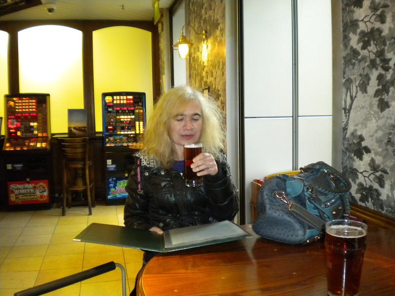 Liz par takes of the Fullers beers