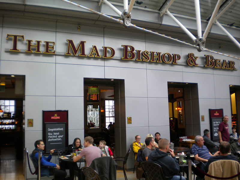 Prior to going away like i always do i got hold of a copy of the   CAMRA Best Bars & Pubs in London Book   Top book   So anyway once we got off Grand Central at Kings X and boy hasn't that changed since i was last there we jumped the Circle line to Paddington and we checked out this pub on the Concourse before going to Windsor  Mad Bishop & Bear   Paddington Station concourse   Website here:   http://madbishopandbear.co.uk/  Top pub if you like Fullers beers they have 5 on tap and the inside is well worth a look