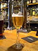 The beer was served in champagne flute glass which was dead cool
