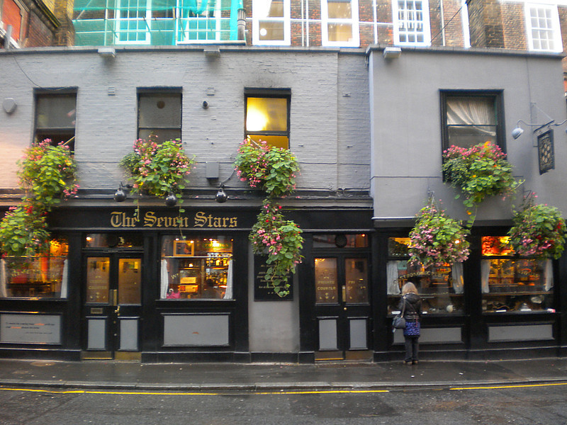 then just down the road off a side street off Chancery Lane find the Spoons on Chancery Lane the Knights Templar then just go down the side street Carey Street and the above is about 5 mins walk <br /> <br /> Severn Stars <br /> <br /> 53 - 54 Carey Street WC2A 2JB <br /> <br /> This a very small long pub but it got some cool stuff in the windows like stuffed animals judges wigs etc <br /> <br /> 5 Beers on <br /> <br /> well worth a visit if only to see all the film posters inside it certainly different