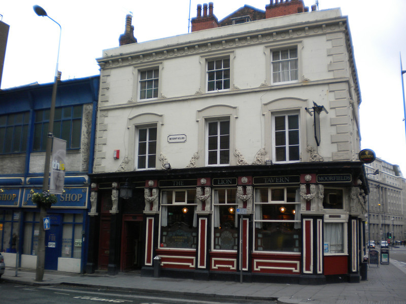 """The Lion<br /> <br /> Moorfields <br /> <br /> Awesome pub this lots of history and well worth a look in just for the original architecture inside the pub dates back to 1841 <br /> <br /> &amp; also a bonus is that it's right across the road from Moorfields Merseyrail Station <br /> <br /> Website: <br /> <br /> <a href=""""http://www.liontavern.com/about.aspx"""">http://www.liontavern.com/about.aspx</a>"""