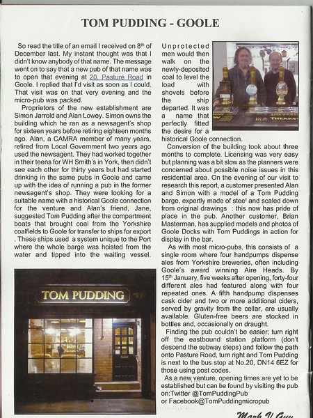 Article from the Local CAMRA mag on how the Micro Pub came about <br /> <br /> best viewed blown up see below<br /> <br /> New to Smugmug?? <br /> <br /> To read the print clearly / make the picture bigger: <br /> <br /> Best way to read it if you new to Smugmug<br /> <br /> Put your mouse pointer over the centre of pic and <br /> <br /> Double click which blows it up. <br /> <br /> Then in the Bottom RIGHT-hand corner <br /> <br /> There is a RESIZE BUTTON so select size you want. <br /> <br /> To cancel and come back just click the big X in top right hand