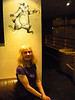 Windsor Castle Pub Lye Home of Sadlers Brewery and awesome Stumblin Badger Beer Liz posses next to the Stumblin Badger painting on the wall in the pub
