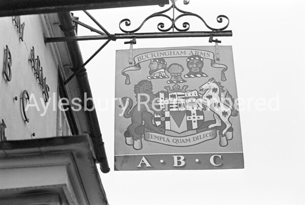 Buckingham Arms sign, May 1978