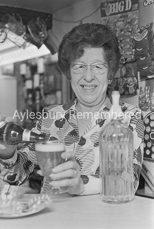 Mrs White retiring from Three Pigeons, March 1973