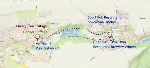 Directions Cherry Tree Cottage to Family Restaurant Pivovar