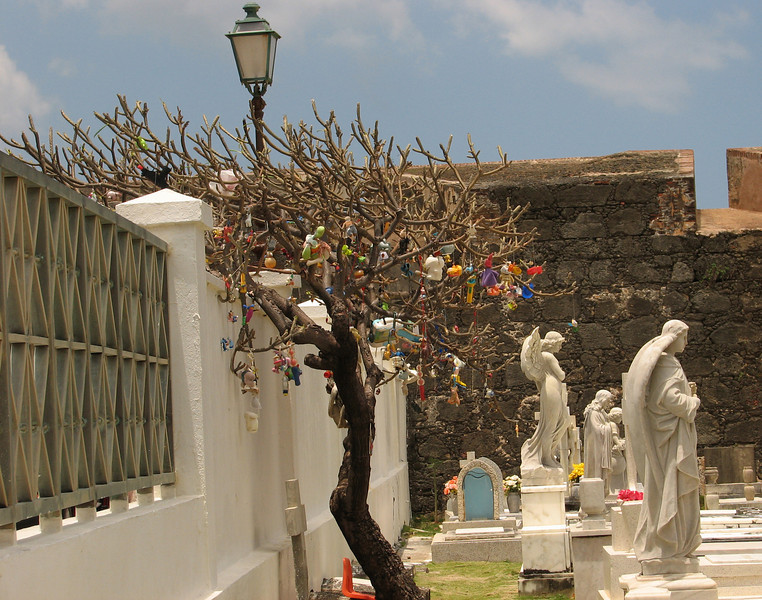 Tree with toys for the children buried here