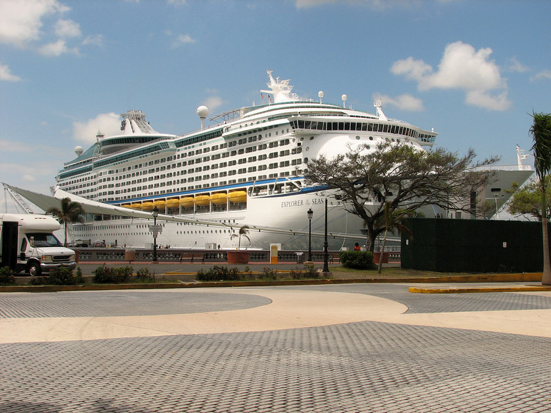 Cruise ship docks in Old San Juan