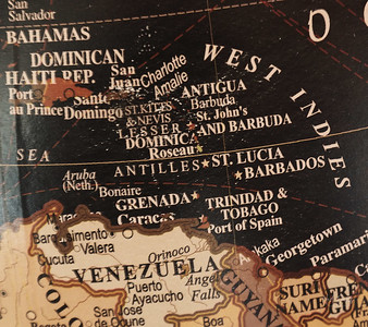 Globe map of the West Indies