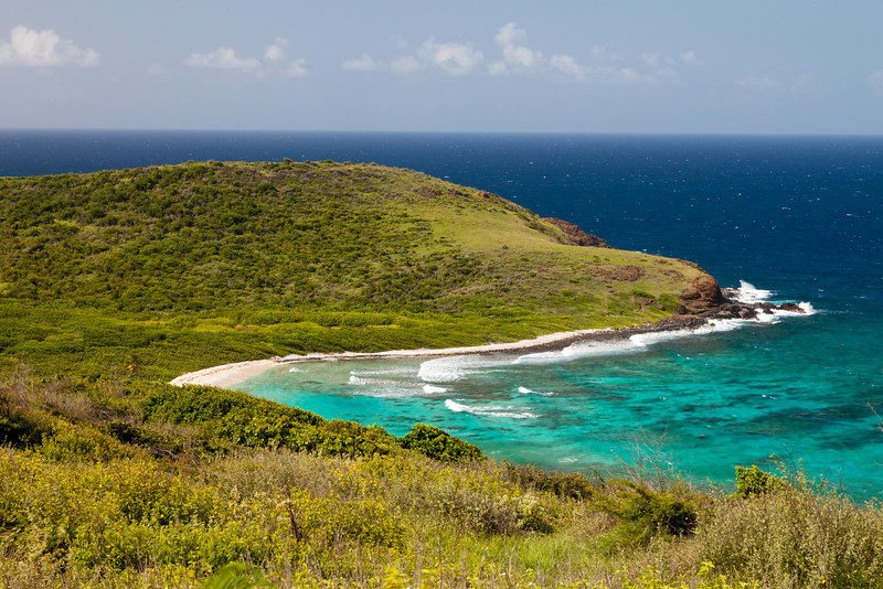 View of Playa Sucia (dirty beach) from the lighthouse hill.  Culebrita, PR<br /> <br /> PR-110725-0138