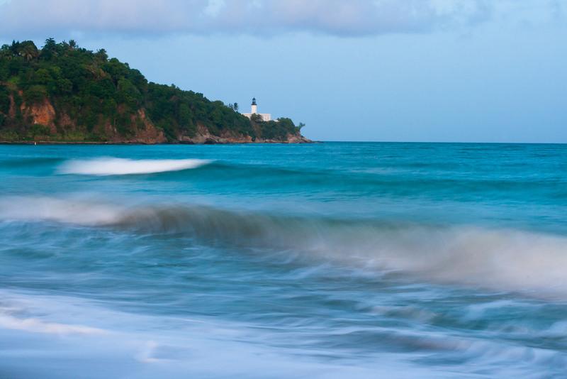 Waves pound the beach near the Punta Tuna Lighthouse. Maunabo, PR<br /> <br /> PR-070726-0163
