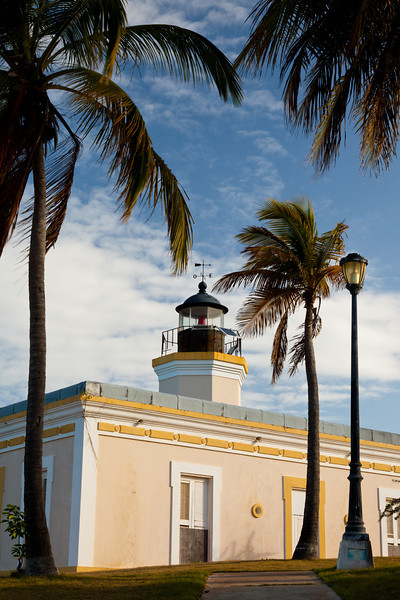 Coconut trees frame the view of the Punta Mulas Lighthouse. Vieques, PR<br /> <br /> PR-090812-0054