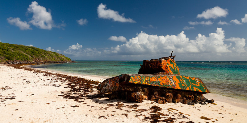 An old tank, a reminder of the U.S. marines target practices on the island, rusts on the shores of Flamenco beach. Culebra, PR<br /> <br /> PR-110726-0034