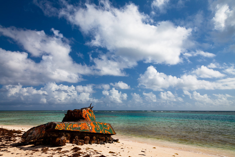 An old tank, a reminder of the U.S. marines target practices on the island, rusts on the shores of Flamenco beach. Culebra, PR<br /> <br /> PR-110726-0052