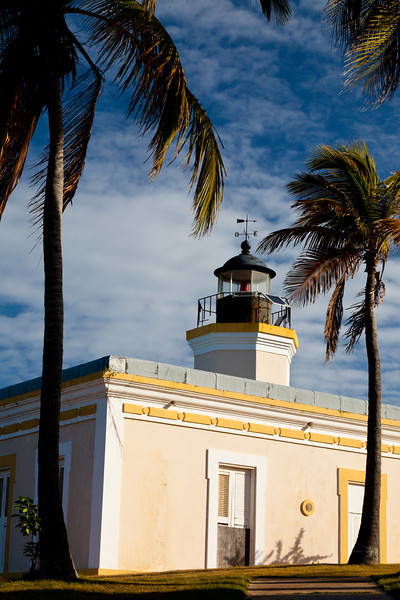 Coconut trees frame the view of the Punta Mulas Lighthouse. Vieques, PR<br /> <br /> PR-090812-0050