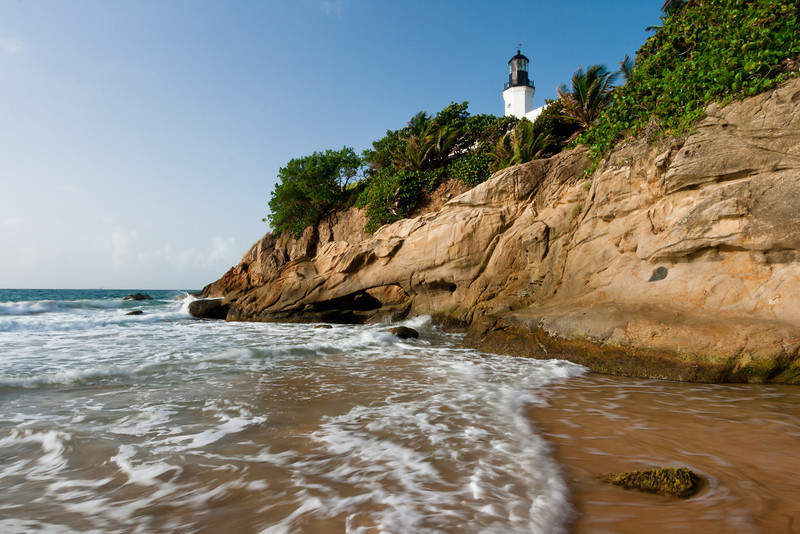 Water recedes from a small cove east of the Lighthouse. Maunabo, PR<br /> <br /> PR-070727-0064