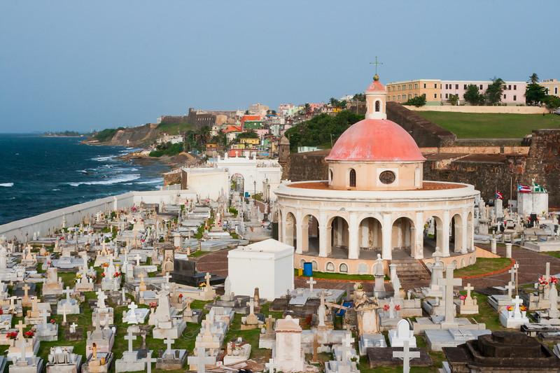 Santa Maria Magdalena de Pazzis cemetery is just outside the San Juan wall near El Morro.  The cemetery was built overlooking the Atlantic Ocean as a symbol of the spirit's journey to cross over to the afterlife. San Juan, PR<br /> <br /> PR-070721-0091