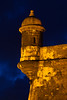 One of El Morro's sentry boxes lit up at night. San Juan, PR<br /> <br /> PR-110805-0012