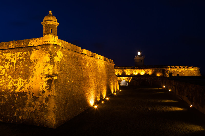 Profile of El Morro at night. San Juan, PR<br /> <br /> PR-110805-0021