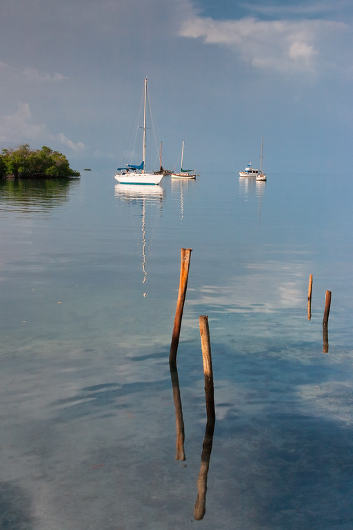 Early morning finds several boats anchored near the pier at La Parguera. Lajas, PR<br /> <br /> PR-070717-0097