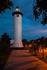 A cloudy sky serves as a backdrop for the Rincon Light at dusk. Rincon, PR<br /> <br /> PR-110728-0208