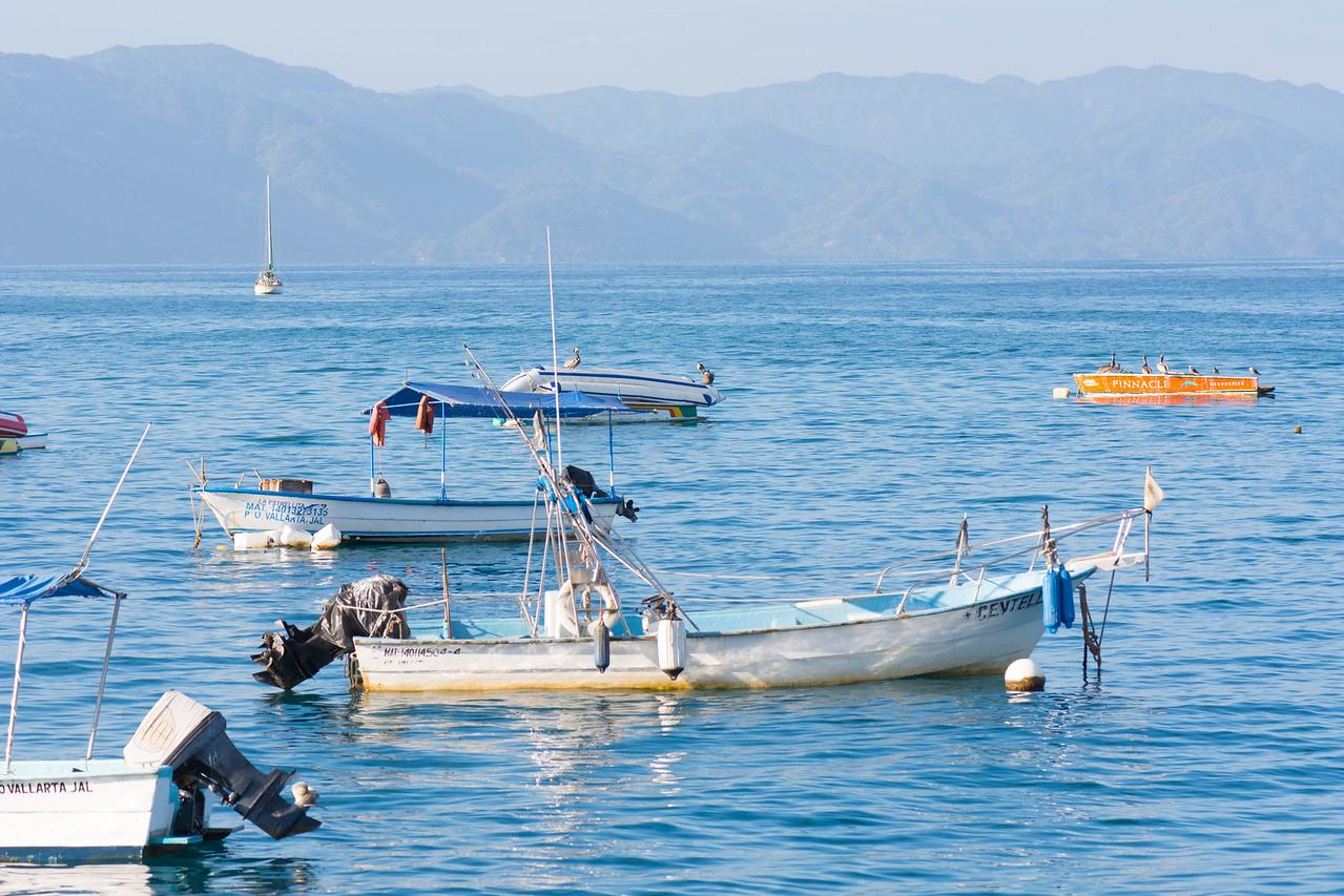 Small boats in Bahía de Banderas